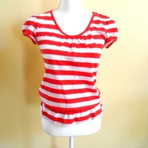 🆕NWOT- Red & White Stripe Top with Button Detail